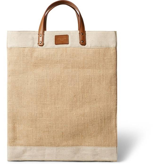 Dolce   Gabbana. DOLCE   GABBANA Leather And Canvas-Trimmed Raffia Tote ... ca6b44f7120e5
