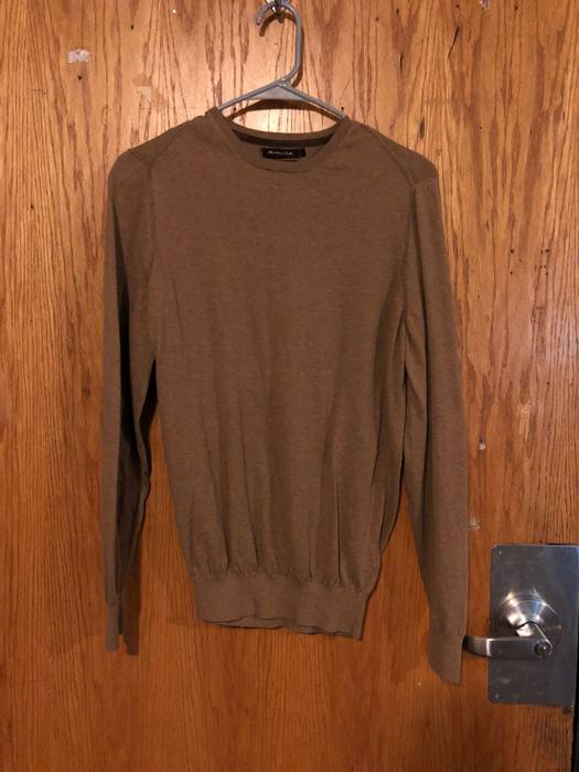 Massimo Dutti Tan Crewneck Sweater With Suede Elbow Patches Size M