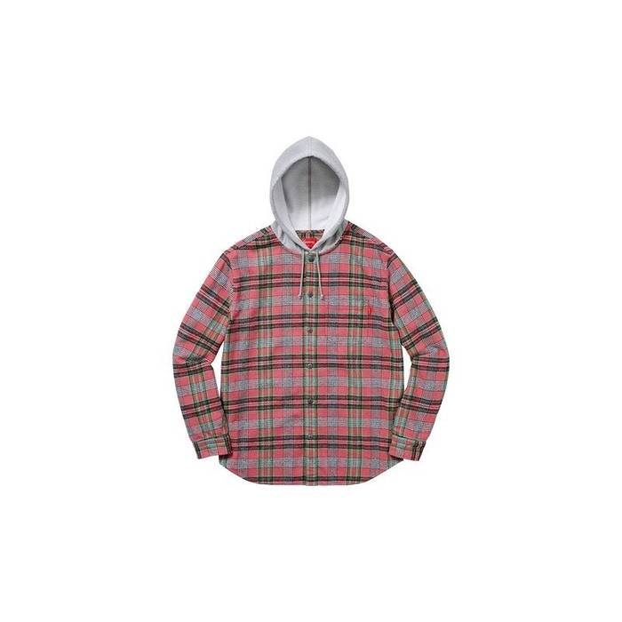 cd89cdf9e64 Supreme. Hooded Plaid Flannel Shirt - Dusty Peach. Size  US L   EU 52-54   3