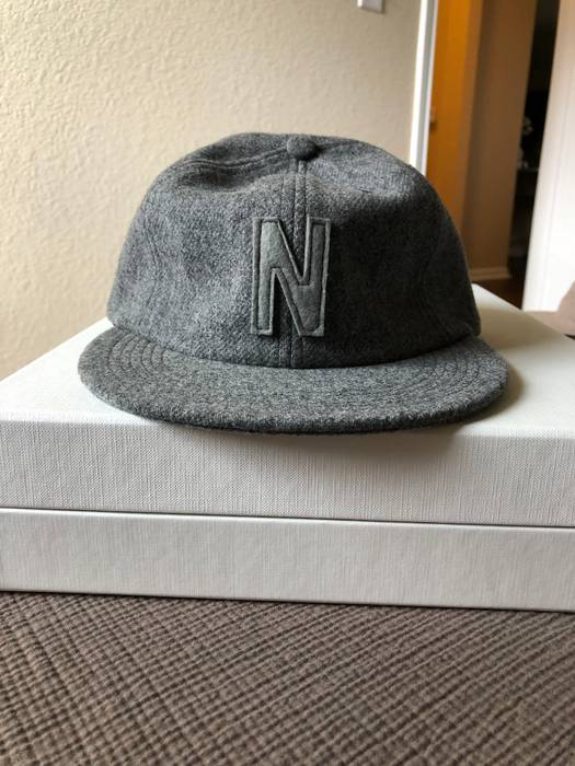 Norse Projects. 6 Panel  N  Wool Flannel Flat Cap in Mouse Grey Melange.  Size  ONE SIZE b4a9d1cfa5a4