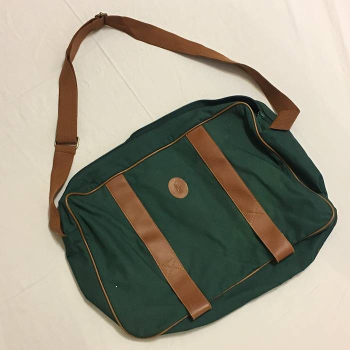 045d64cdcb55 Polo Ralph Lauren Vintage Green Leather Polo Duffle Bag Size ONE SIZE - 1