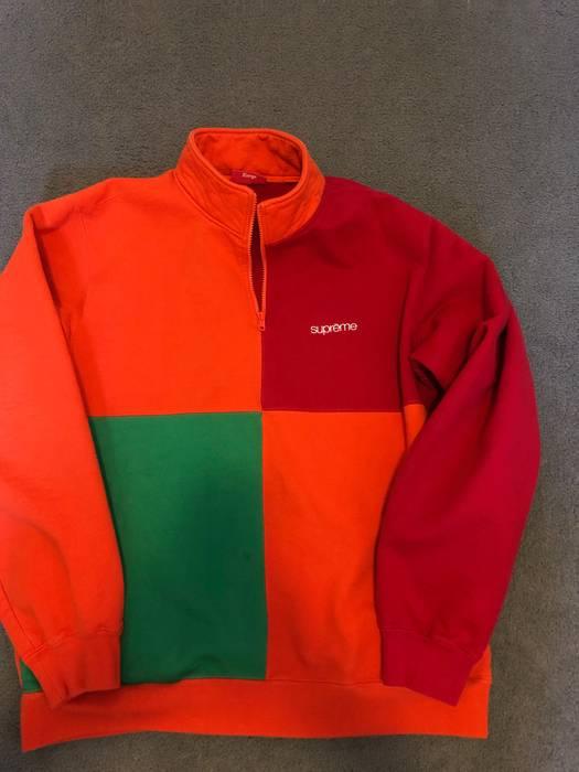 3c56c2ece011 Supreme Supreme Color Blocked Half Zip Sweatshirt Dark Orange Size US XL    EU 56