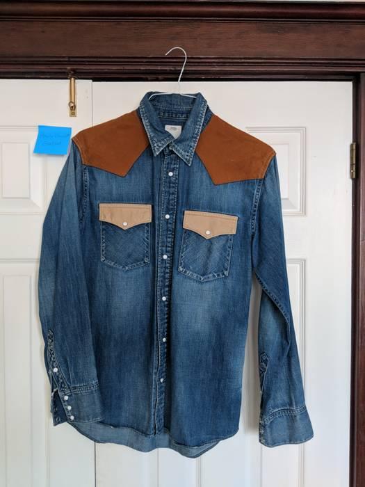 7d4e1a887c5 Visvim. 2015 Visvim SS Indigo Brown Denim Oxford Shirt sz 2. Size  US M   EU  48-50 ...