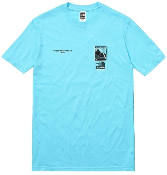 Supreme 2016 SS Supreme The North Face Steep Tech T-shirt Light Blue ... 84df7be01f62