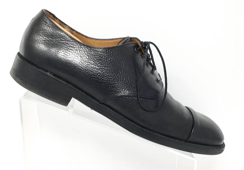 0ecaadf5ce0 Salvatore Ferragamo Studio Black Pebble Leather Cap Toe Oxfords Size ...