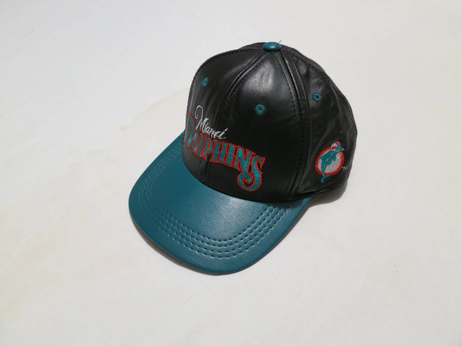 Vintage Vintage Miami Dolphins Team NFL football leather snapback hat Size  ONE SIZE 23423d165be