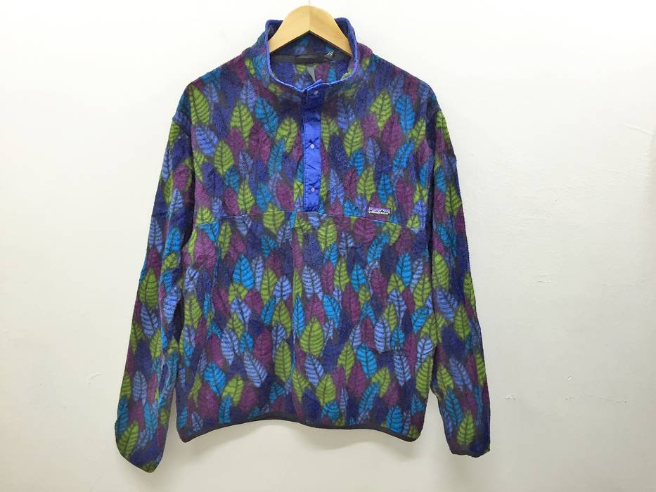 Vintage 90 s PATAGONIA leaves multicolor full print snap button fleece  jacket made in USA Size US 76f144c85fff