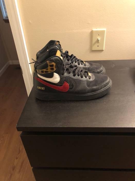 """John Geiger Personal Pair Nike Air Force 1 High """"Misplaced Checks"""" Size US  11.5 767167872"""