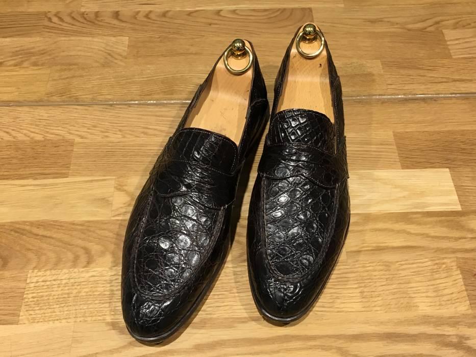 a4e6c02fa34 Santoni Santoni Unlined Full Strap Crocodile Penny Loafer Size 9.5 ...