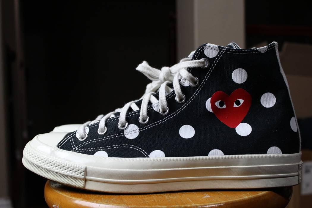 11c0d59e2bbb Converse CDG Polka Dot Dotted Red Heart Black White High Hi Tops Chuck  Taylor 1.0 OG