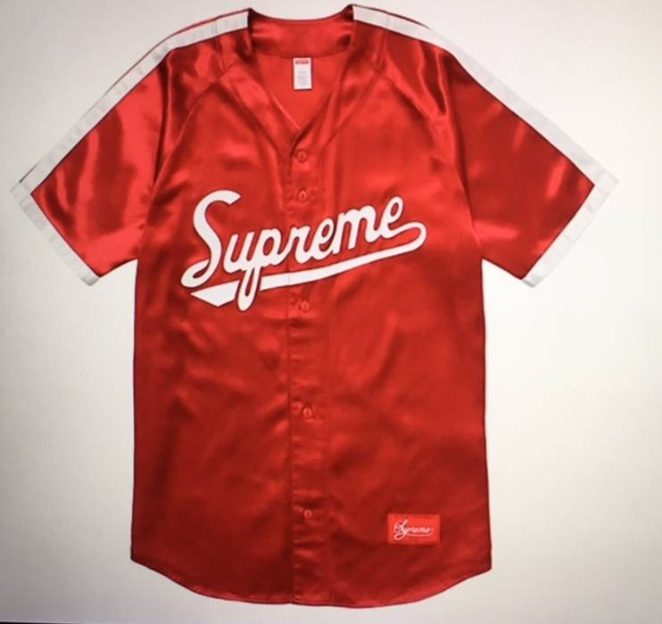 Supreme Red Satin Baseball Jersey Size l - Jerseys for Sale - Grailed f4504df8a