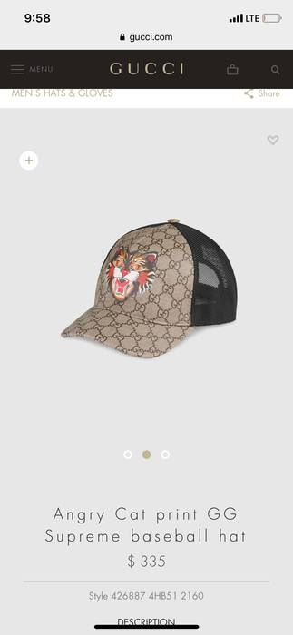 Gucci Angry Cat GG Baseball Hat Size one size - Hats for Sale - Grailed 56c1c1b4c03