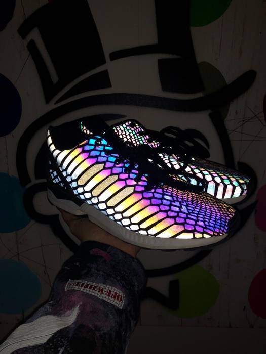 Adidas  RARE  Adidas Xeno Reflective Rainbow Shoes Size 10.5 - Low ... dfd93bd99