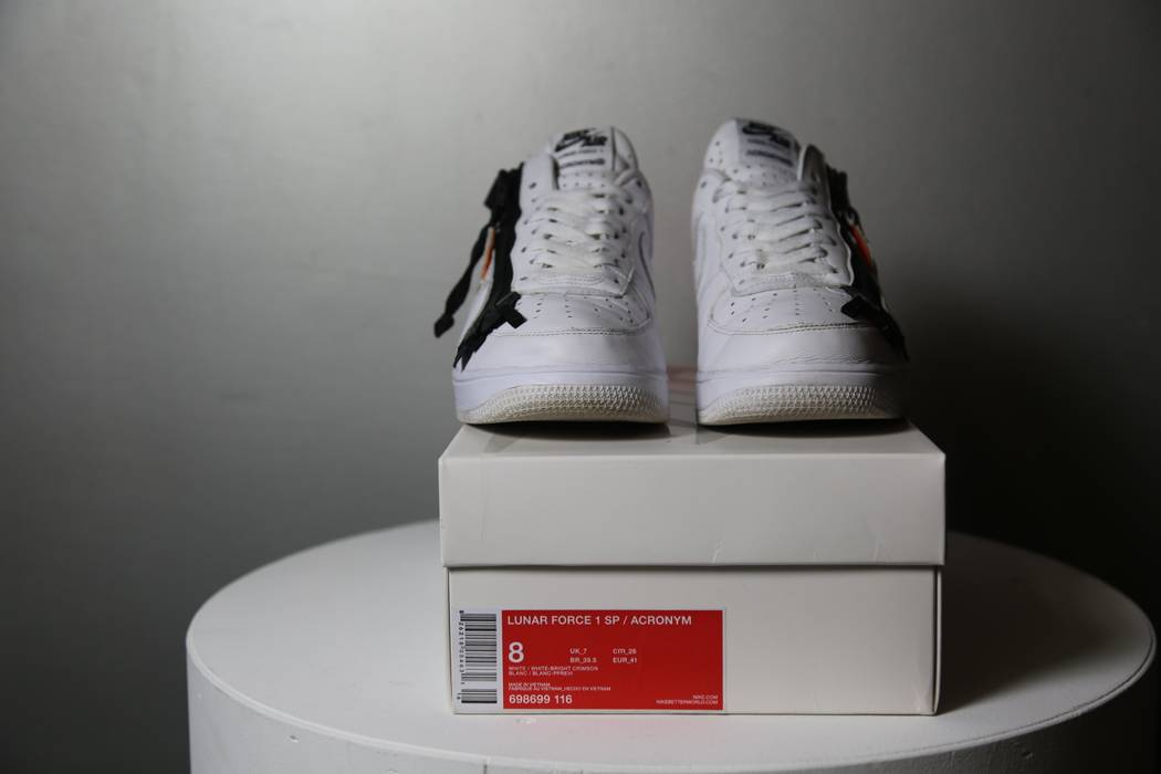 newest collection 6385a 7062b ... authentic nike nike lunar force 1 sp acronym white white bright crimson  size us 28678 65265