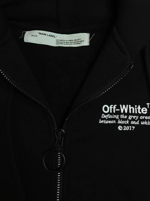 Off White Off White Main Label Quotes Black Zip Up Hoodie S Size S