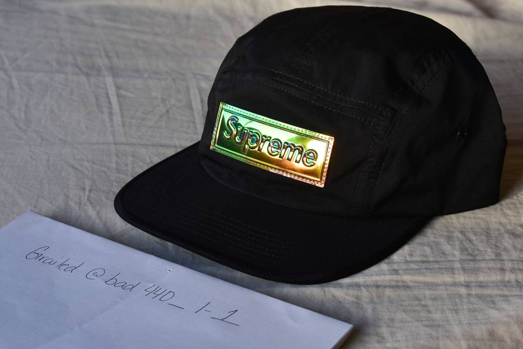 833ee89c290a Supreme Iridescent Logo Camp Cap Size one size - Hats for Sale - Grailed