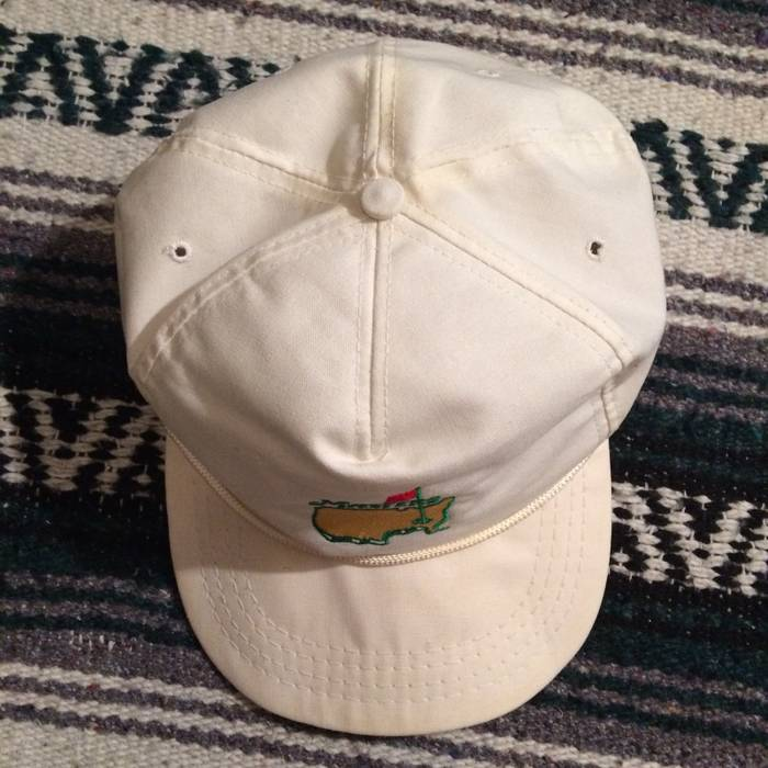 Vintage Vintage 80s 90s The Masters Golf Tournament Leather Strapback Rope  Bill Hat Derby Cap White a940d58ee16