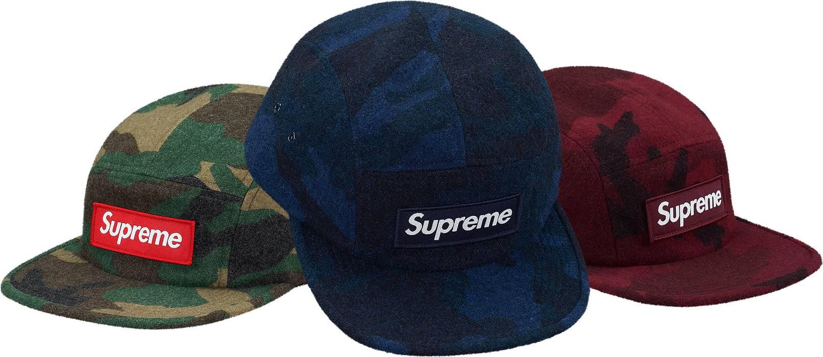 Supreme Supreme Camo Wool Camp Cap (Navy) Box Logo Size one size ... 5295af8f188