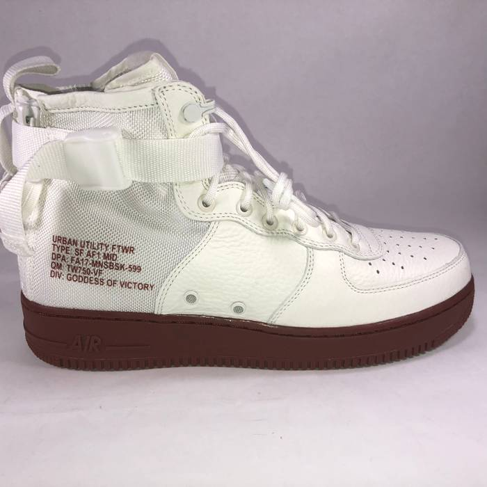 b48a44e5ded Nike SF AF-1 Mid Ivory   Mars Stone (Red) Bottom Sneaker New 917753 ...