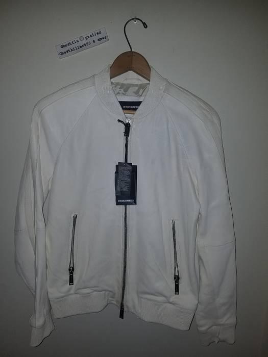 Dsquared2 Dsquared2 Men S White Soft Leather Bomber Jacket Size 50