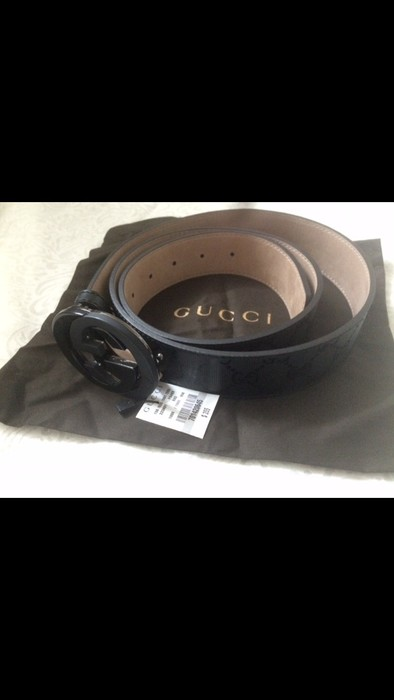 9d593ea64ba Gucci NWT Authentic Gucci Men s Black GG Imprimé Shiny Belt Size 32 ...