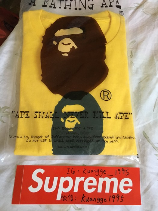 9735f329 Bape A Bathing Ape Yellow Tee Head Pirate Skeleton Size Large Size US L / EU
