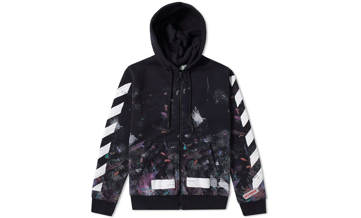 ed23709b71c3 Off-White Off-White Galaxy 🌌 Brushed Diagonals Zip Hoodie Size US XL