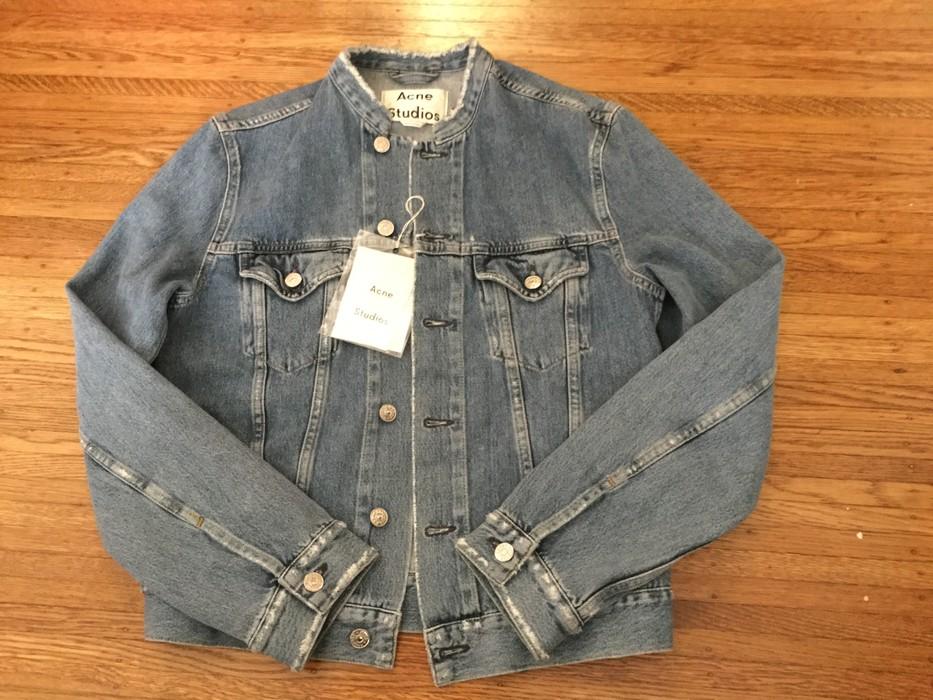 0822484fea0 Acne Studios Men s Who Distressed Collarless Denim Jacket in Blue Size US S    EU 44