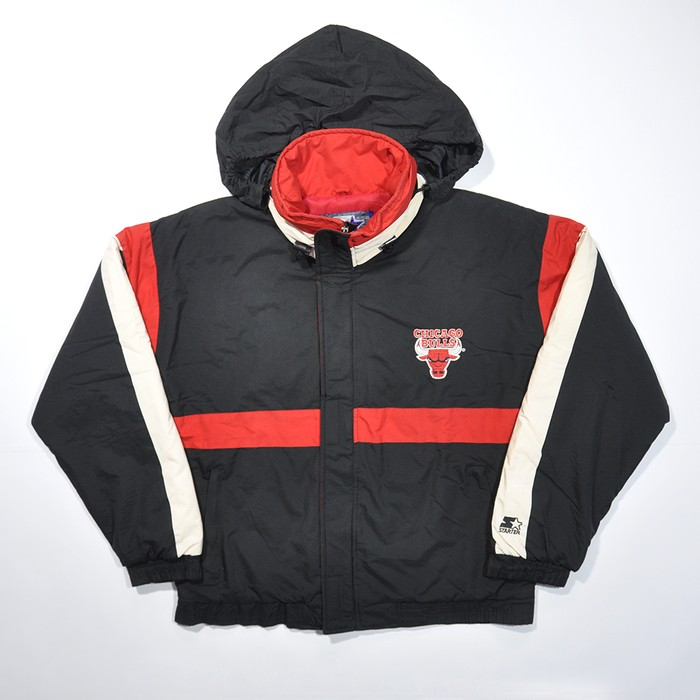 217f82e524c77d Starter Rare Vintage 90s Chicago BULLS NBA Puff Winter Coat STARTER Hidden Hoodie  Jacket   Streatwear