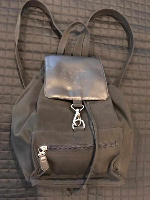 ec6b74a20091a Versace Authentic Vintage Gianni Versace Medusa Black Leather And Nylon  Backpack Size ONE SIZE