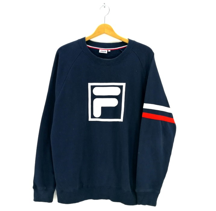 7f5e65276732 Fila Big LOGO Blue Colour Sweatshirt Crewneck Fila Colour Block Pullover