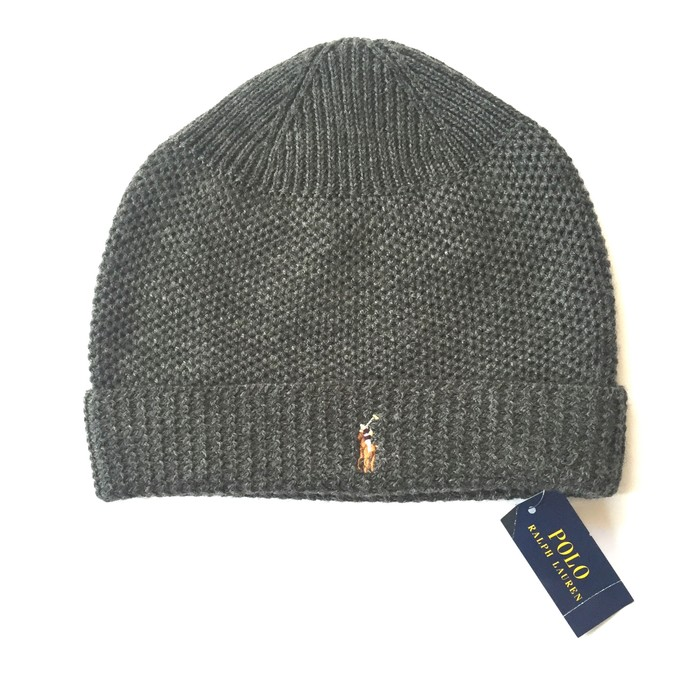 ac61aa4d12e20 Polo Ralph Lauren Gray Embroidered Logo Wool Beanie HWT Size ONE SIZE