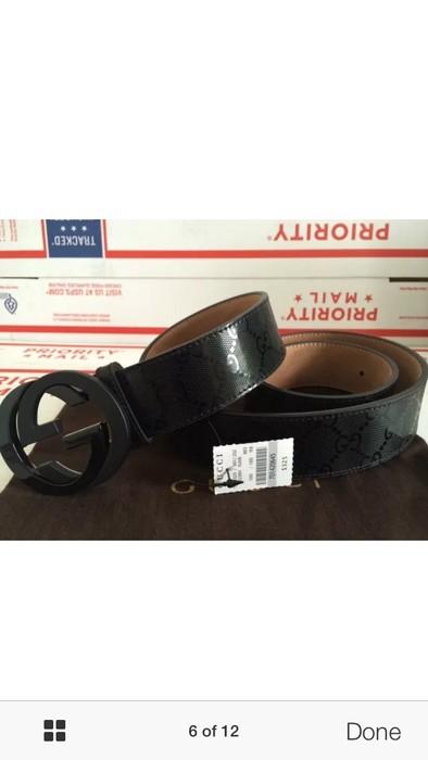 b7b6d104fa2 Gucci NWT Authentic Gucci Men s Black GG Imprimé Shiny Belt Size 32 - 11
