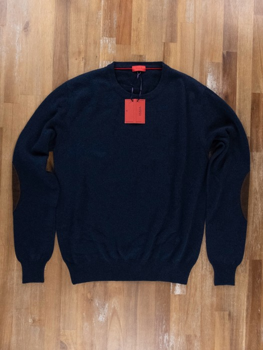 9876b6248 Isaia ISAIA Napoli 100% cashmere navy blue sweater with suede elbow ...