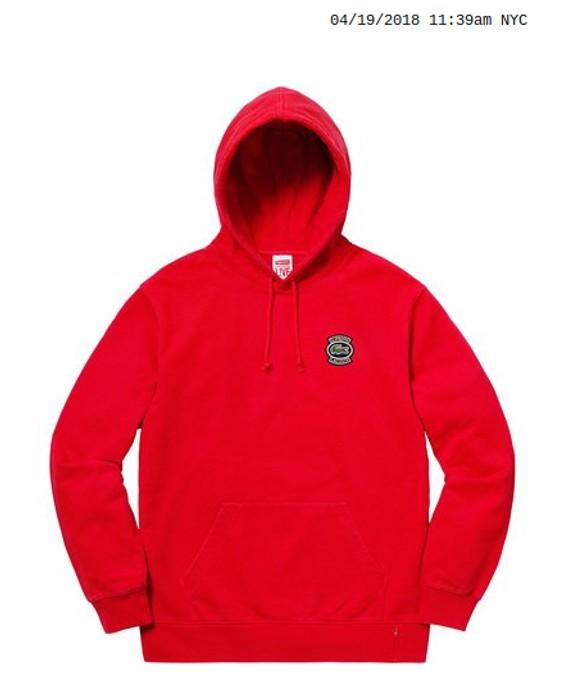 3fbfd1d8ebb8 Supreme Supreme X Lacoste hooded sweatshirt red Size m - Sweatshirts ...