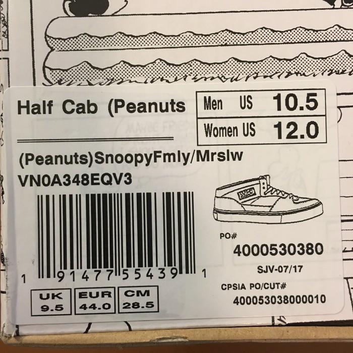 e199deb0f8 Vans 2017 Vans x Peanuts Half Cab SNOOPY FAMILY Sz 10.5 Marshmallow Cream  VN0A348EQV3 Size US