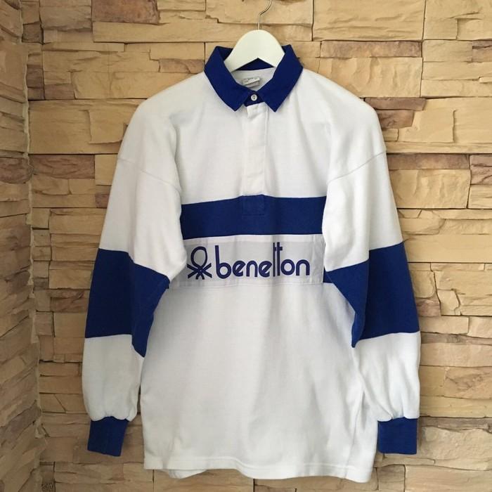 a1e761325cf Benetton 80 s Vintage Benetton Rugby Polo Size l - Polos for Sale ...