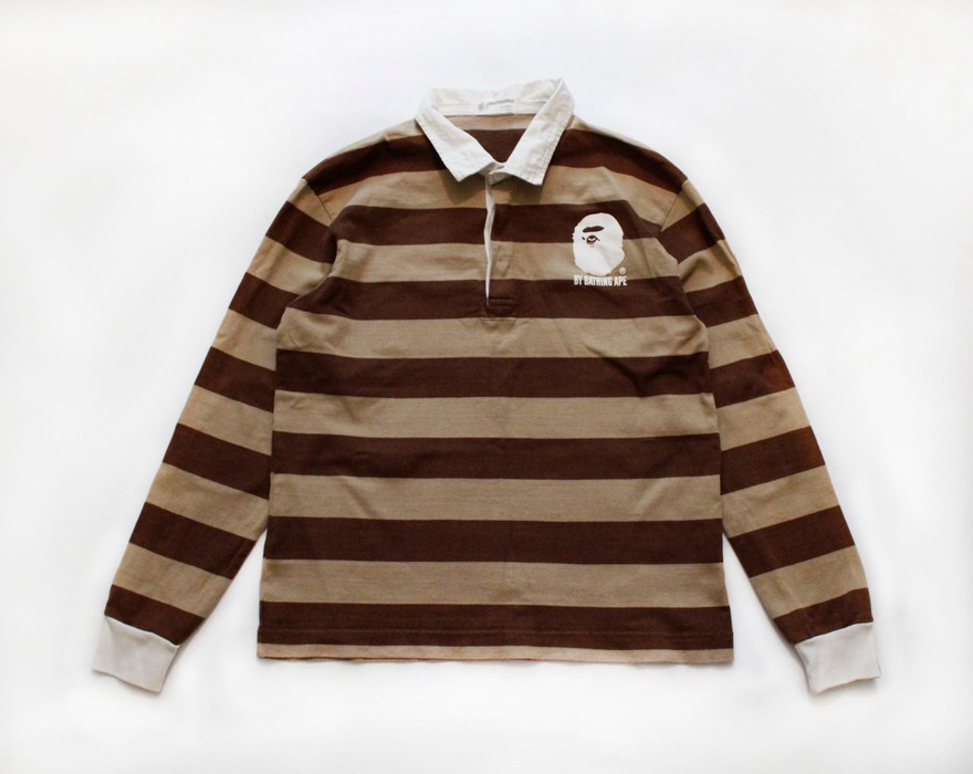 e858a656 Bape BAPE BY A BATHING APE MADE WITH GENERAL STRIPED RUGBY SHIRT Size US M /