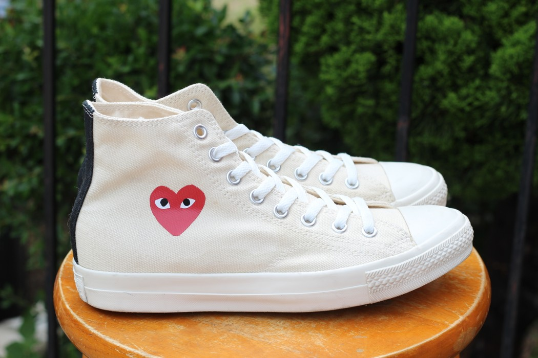 9c996bbbba04 Converse CDG High Tops Cream White Little Heart OG 1.0 Size US 8   EU 41