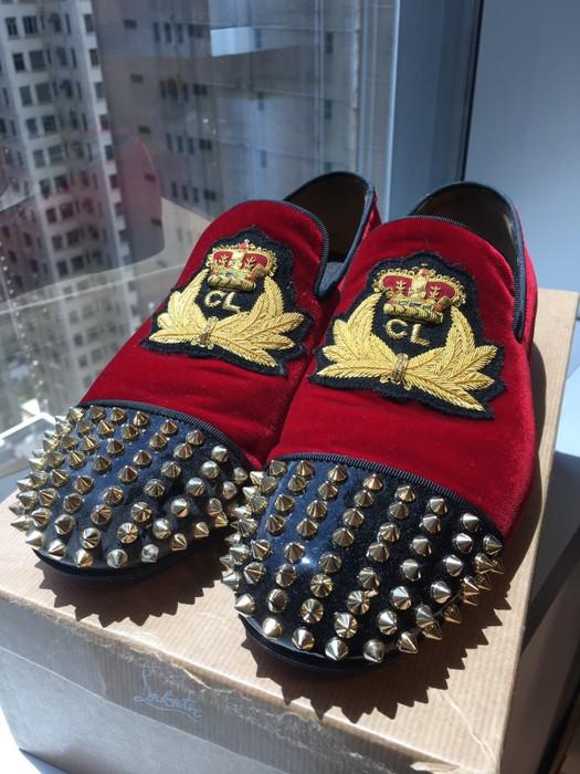 34c961d6aaa5 Christian Louboutin Harvanana Flat Red Velvet Gold Spikes Size 7.5 ...