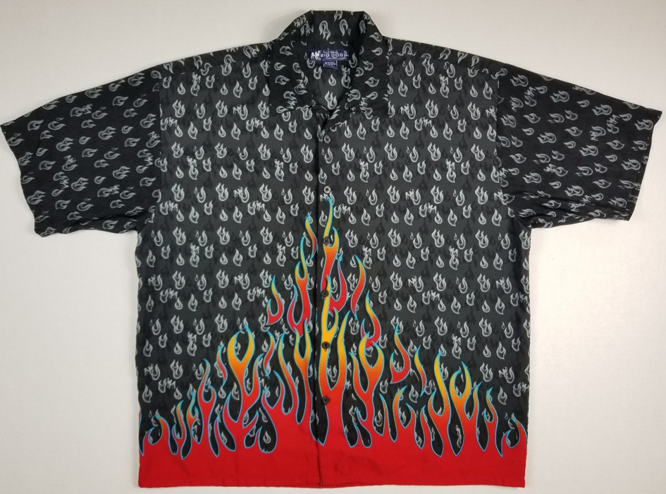 44b74d08f0425 Big Dogs. Big Dog s Men s Casual Flame Button Down Shirt Black Red size XL