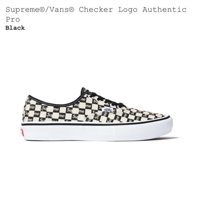 f86cbe1fcc Supreme Supreme Vans Checker Logo Authentic Pro Black Size US 12   EU 45 - 1
