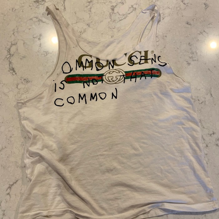 """71ab23708cee1 Gucci Gucci """"Common Sense Is Not That Common"""" Tank Top Size s - Tank ..."""