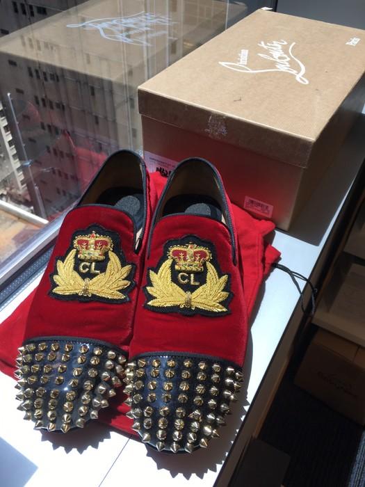 1430325bc36a Christian Louboutin Harvanana Flat Red Velvet Gold Spikes Size US 7.5   EU  40-41