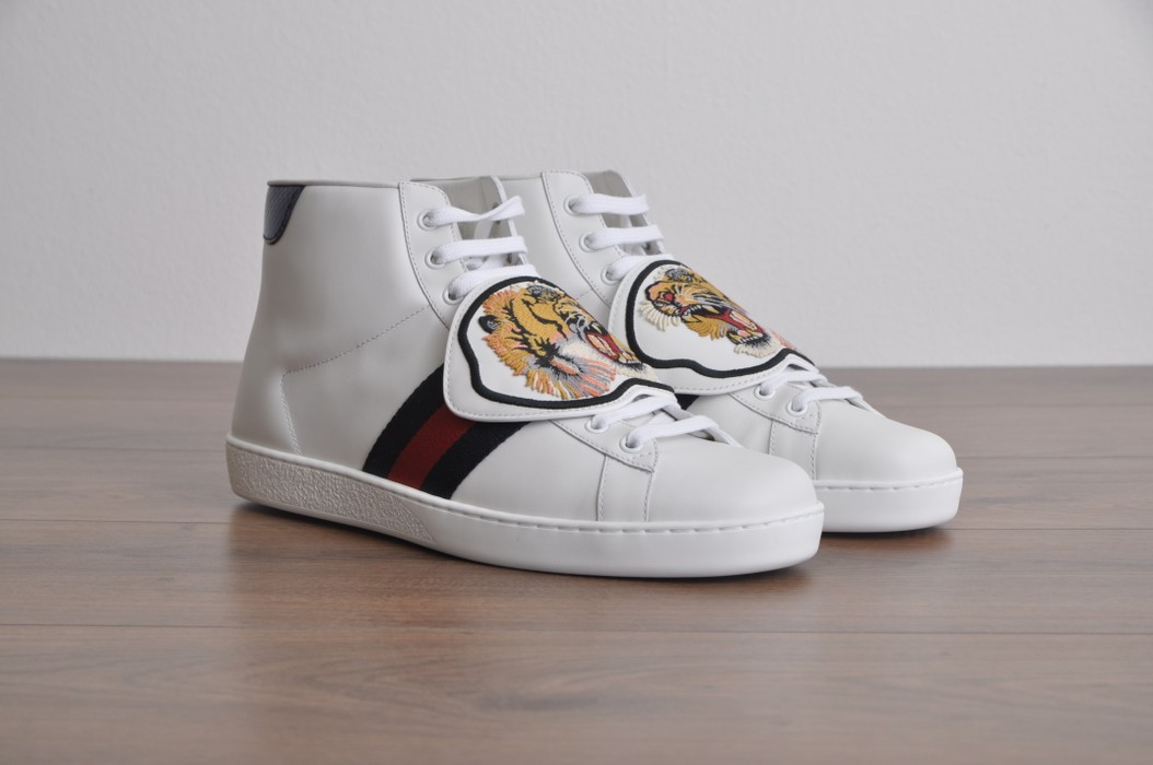 81c155748f9 Gucci White Ace High Top Sneaker With Removable Embroidered Patches Size US  10.5   EU 43