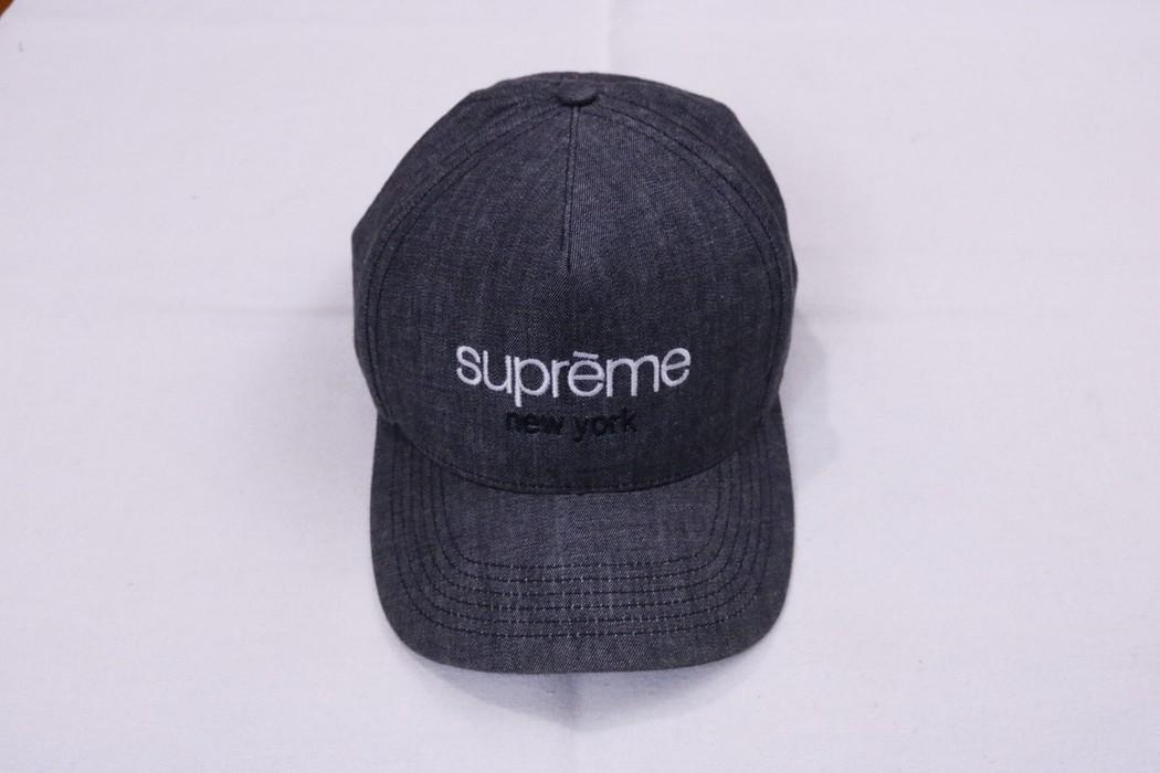 c0c15e0923dc6 Supreme Supreme Classic Logo Denim Chambray Snapback Hat 5 Panel ...