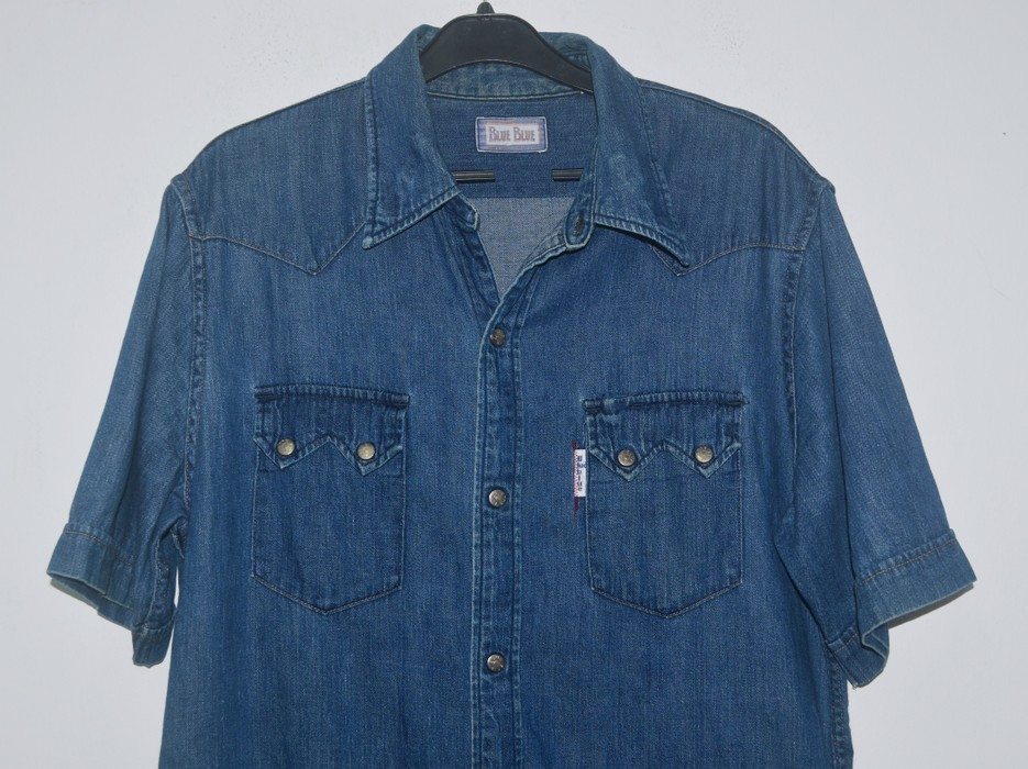 a4b7d27fe7 Indigo Blue Blue Japan Snap Button Denim Shirt Size US L   EU 52-54