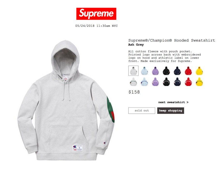 d408ff7f4722 Supreme Supreme x Champion Hoodie - Ash Grey (Gucci Colorway) Size US M