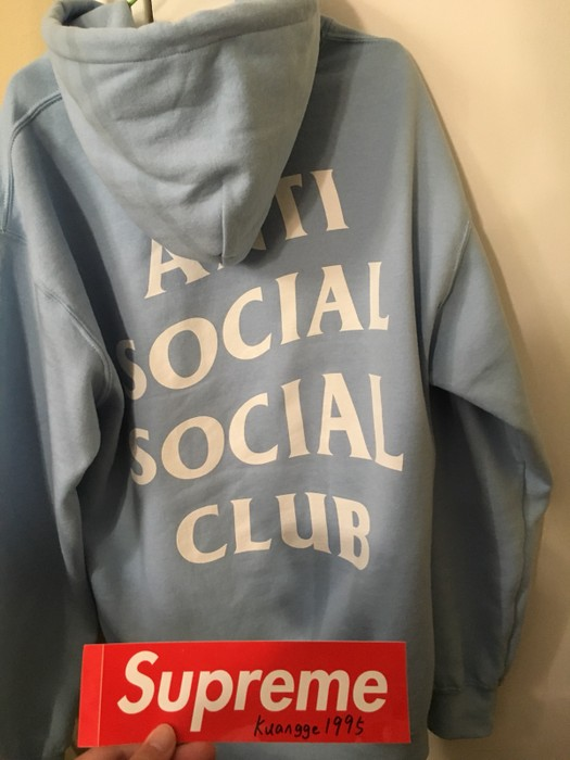 fd898c3fb71a5 Antisocial Social Club Assc Sky Is Fall Baby Blue Hoodie Size Medium Logo  Size US M