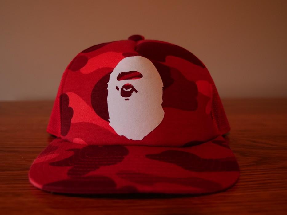 146d636706f Bape A Bathing Ape Red Camo snapback trucker hat Size one size ...